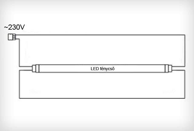 LED fénycső bekötése két oldalon