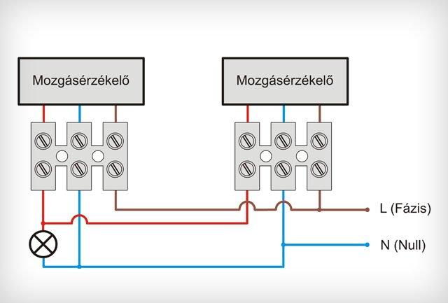 Két mozgásérzékelő párhuzamos kapcsolása